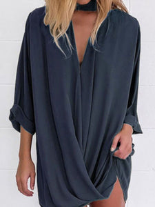 V Neck  Single Button  Plain Casual Dresses