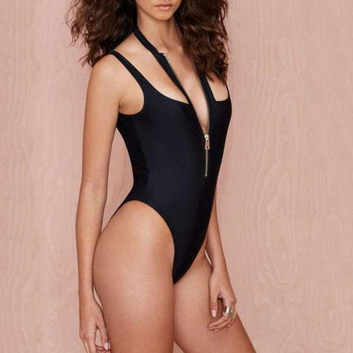 Halter  Zips  Plain One Piece
