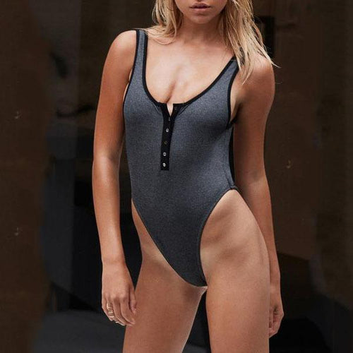 Deep V-Neck  Contrast Trim Zips  Plain One Piece