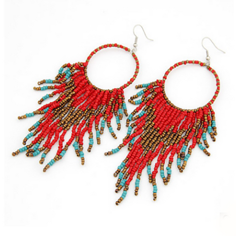 Gosfashion Bohemian Beaded Tassel Pendant Earrings