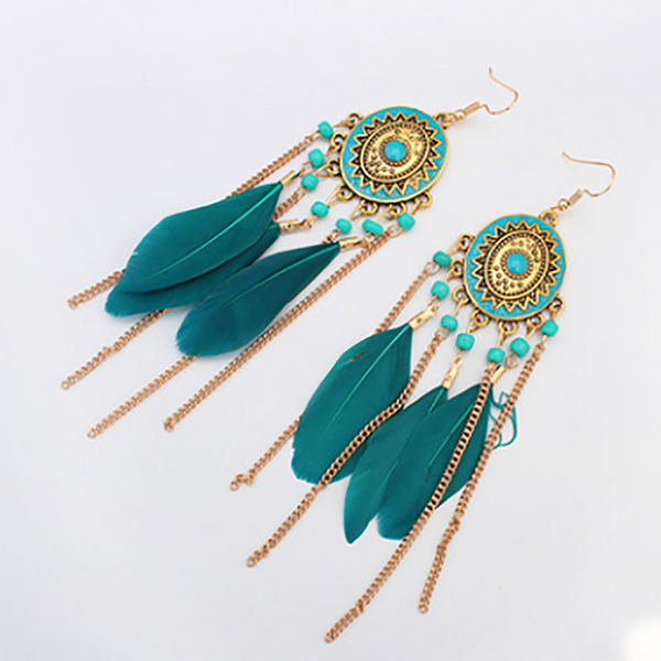 Gosfashion Bohemian Feather Chain Tassel Earrings
