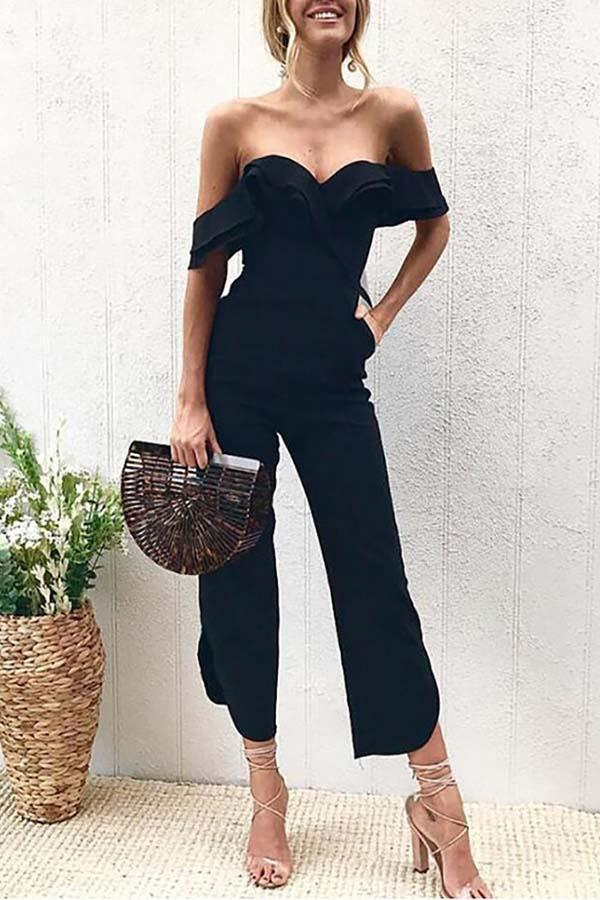 Gosfashion Black Sexy Stylish Off Shoulder Jumpsuit