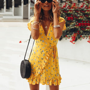 Gosfashion Floral Print Mini Dress