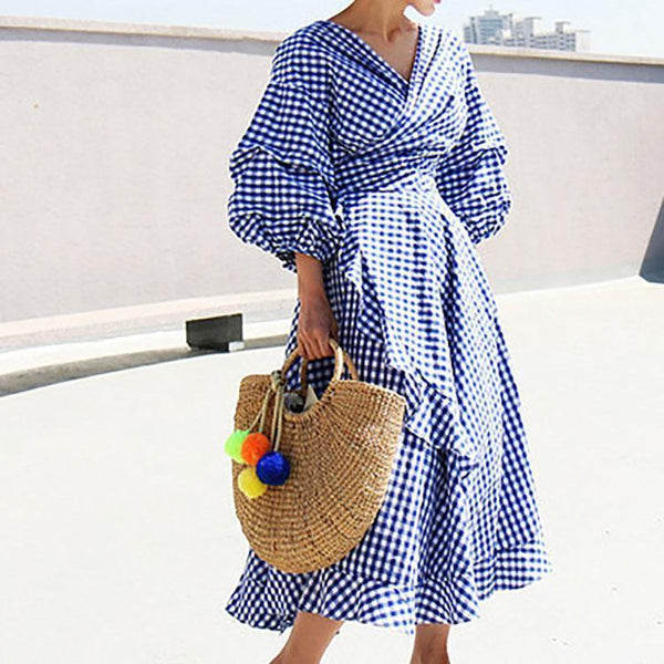 Gosfashion Elegant V Collar Plaid Lantern Sleeve Vacation Dress