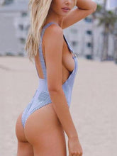 Load image into Gallery viewer, Sexy Backless Straps Stripe One Piece Bikini