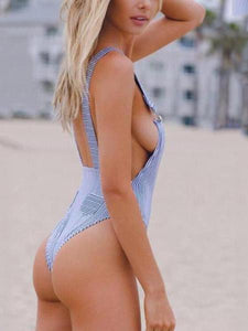 Sexy Backless Straps Stripe One Piece Bikini