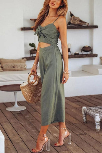 Gosfashion Spaghetti Strap Bowknot Exposed Navel Plain Sleeveless Jumpsuits