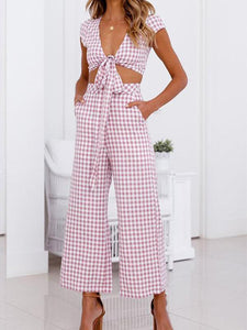 Gosfashion Sexy Pink Short Sleeves Stripe Suit