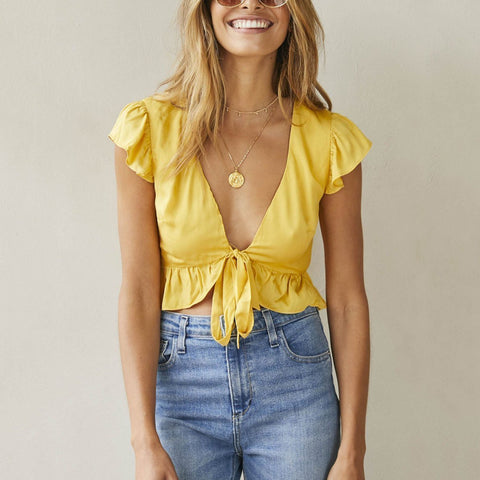 Gosfashion Sexy Yellow Short Sleeves T-Shirt Blouses