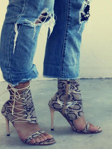 Sexy High-Top With Snake-Like High-Heel Sandals
