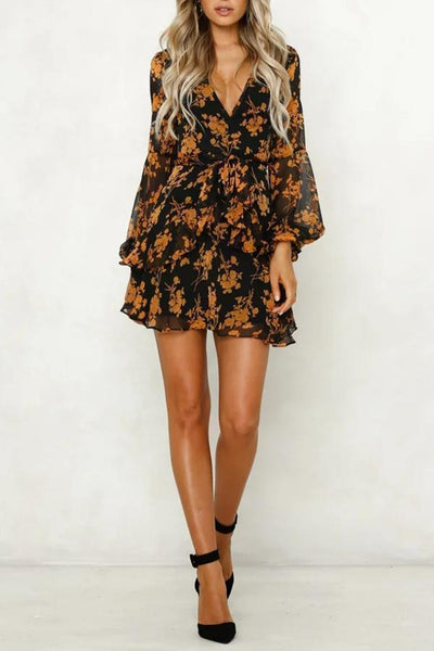 Gosfashion Sexy V Neck Floral Long Sleeve Mini Dresses