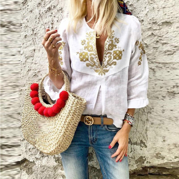 Gosfashion V Neck Printed Ruffles Casual Blouse