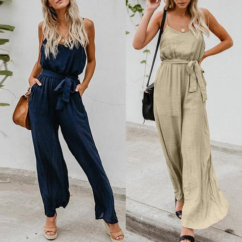 Gosfashion Spaghetti Strap Backless Belt Plain Sleeveless Jumpsuits