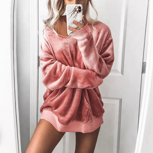 Velvet Long Sleeved Pure Color Hoodie Sweatshirt