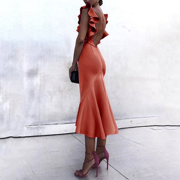 Gosfashion Sexy Backless Fishtail Bodycon Dress