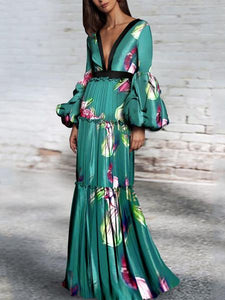 Sexy Floral Deep V Collar Long Puff Sleeve Ruffled Maxi Dress