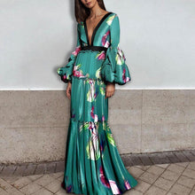 Load image into Gallery viewer, Sexy Floral Deep V Collar Long Puff Sleeve Ruffled Maxi Dress