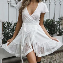 Load image into Gallery viewer, Sexy Plain Deep V Collar Lace-Up Waist Ruffled Hem Shift Dress
