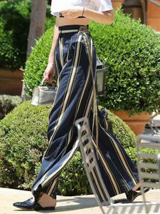 Fashion Casual Loose Strip High Waist Fringe Pant