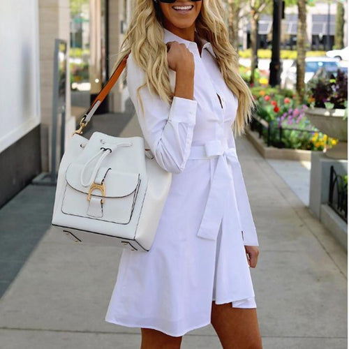 Long Sleeve Lapel Bow A-Line Shirt Dresses
