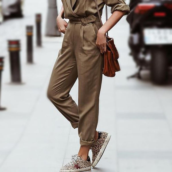 Gosfashion Army Green Stylish V - Collared Early Autumn Jumpsuit