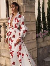 Load image into Gallery viewer, 🔥Flash Sale Fashion V Collar Long-Sleeved Printing Hollow Out On The Back Maxi Dress