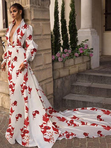 🔥Flash Sale Fashion V Collar Long-Sleeved Printing Hollow Out On The Back Maxi Dress