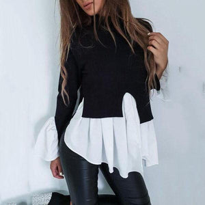 Turtle Neck Long Flare Sleeve Color Block Patchwork T-Shirts