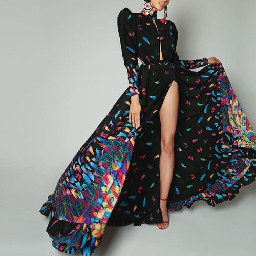 Sexy Color Feather   Printed Long Sleeve Maxi Dress