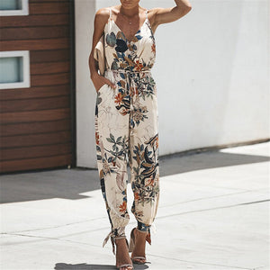Gosfashion Stylish Printed Suspenders And Jumpsuits