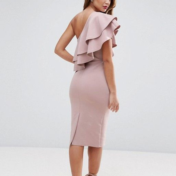 Gosfashion Sexy Pink One Shoulder Bodycon Dress