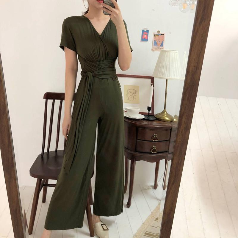 Gosfashion Retro Slim V-Neck Short Sleeve Jumpsuit