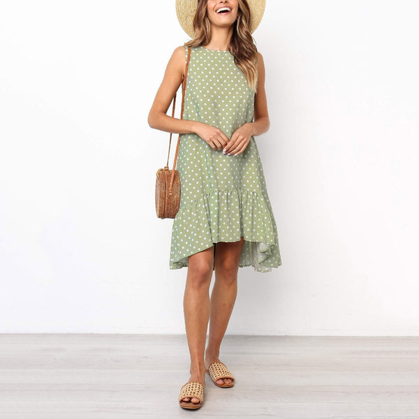 Gosfashion Summer Polka Dot Printed A-Line Ruffle Vacation Dress
