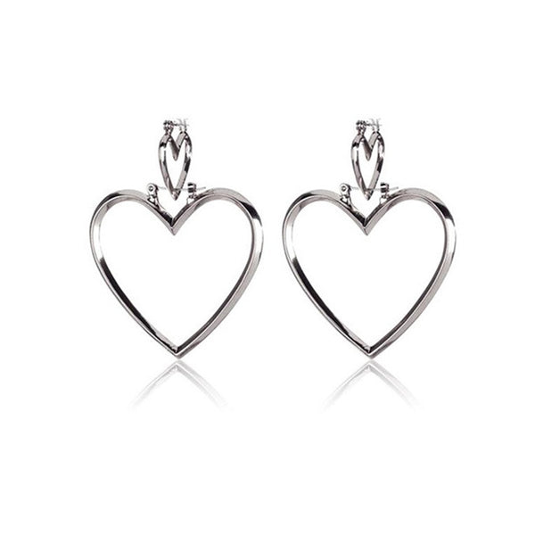 Gosfashion Fashion Chic Contracted Hollow Heart Versatile Earrings