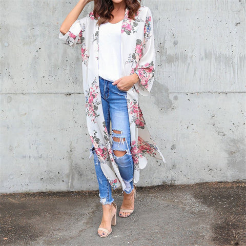 Gosfashion 2019 Floral Printed Loose Beach Long Cardigan