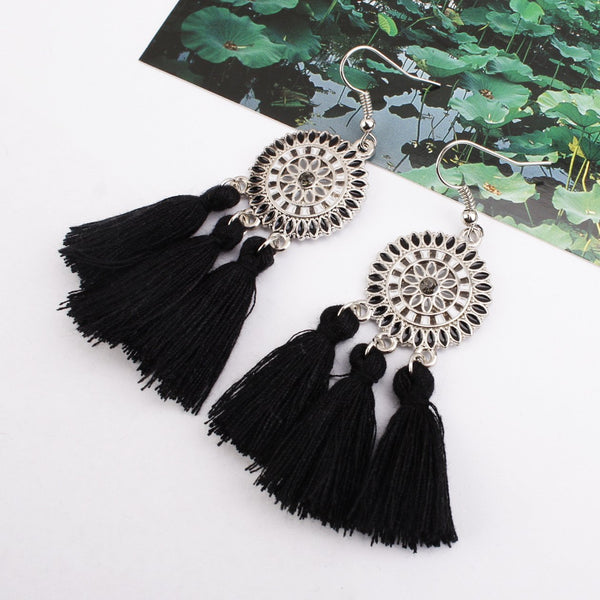 Gosfashion Bohemian Hollow Tassel Earrings Retro Creative Alloy Earrings