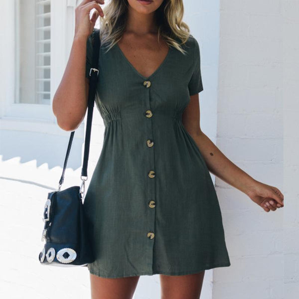 Gosfashion Sexy V-Neck Waist Short Sleeve Button Mini Dress