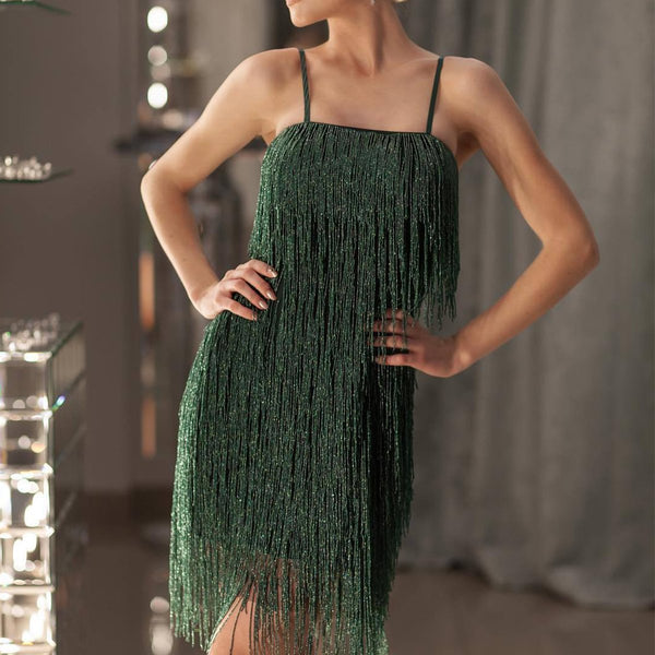 Gosfashion Sexy Spaghetti Strap Tassel Mini Evening Dress