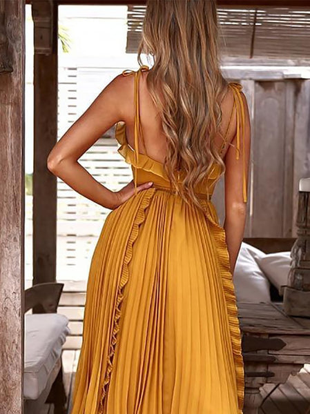 Gosfashion V Neck Bare Back Hollow Out Splicing Midi Dresses
