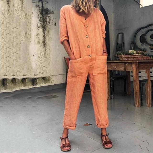 Gosfashion Fashion Solid Color Pocket  Button Jumpsuit