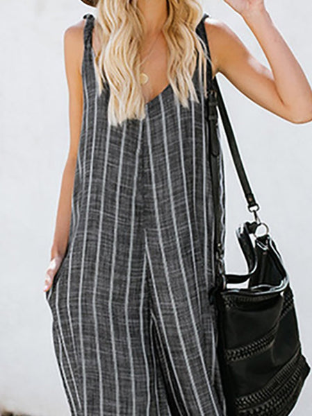 Gosfashion Elegant Sling Striped Sleeveless Broad Leg Jumpsuits