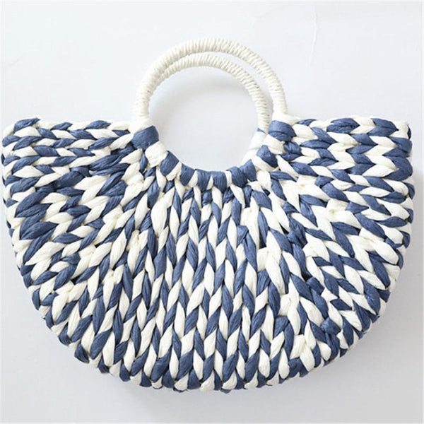 Gosfashion Summer Mixed Color Straw Weaving Tote Bags