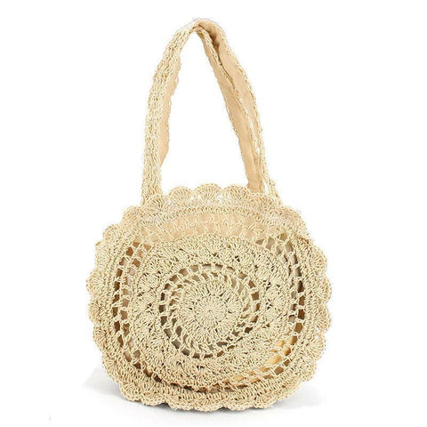 Gosfashion Soft Paper Rope Crochet Round Straw Weaving Bags