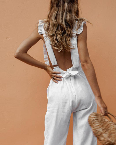 Gosfashion Ruffled Backless Sexy Linen Jumpsuit