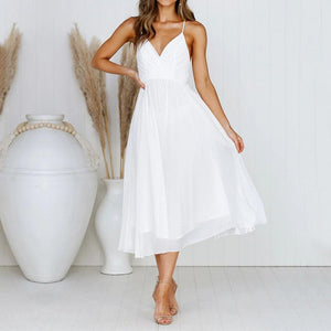 Gosfashion Fashion Sexy Strap V-Neck Wrapped Chest Midi Dress