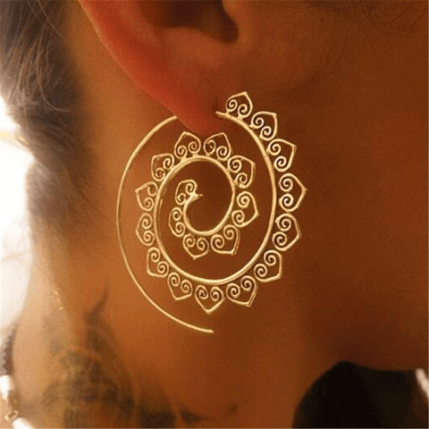 Gosfashion Vintage Round Spiral Earrings