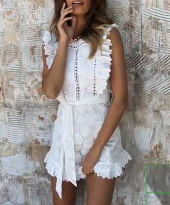 Gosfashion Fashion Dress Lace Print Women's Sleeveless Mini Dress