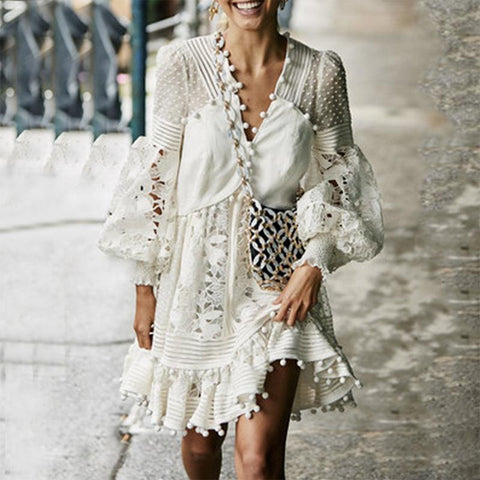 Gosfashion V Neck Lace Hollow Out See-Through Bell Sleeve Dress