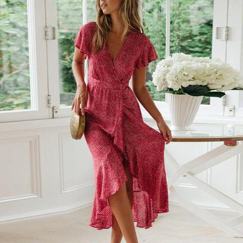 Gosfashion V Neck Ruffled Floral Pleated Vacation Chic Dress