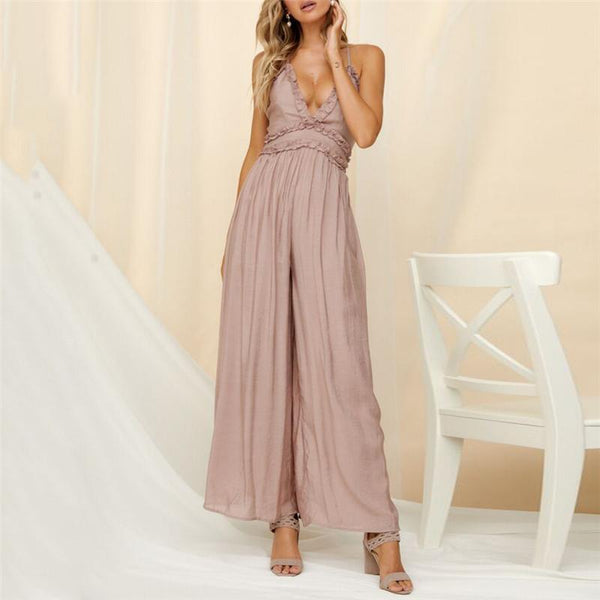 Gosfashion Sexy Deep V-Neck Backless Solid Color Jumpsuits